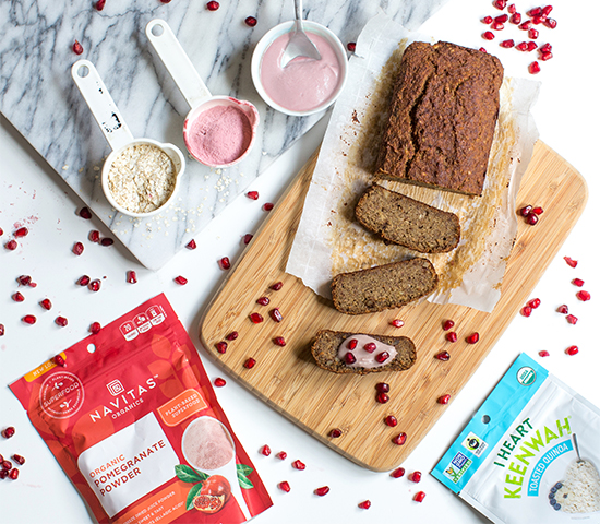 Pomegranate Quinoa Banana Bread