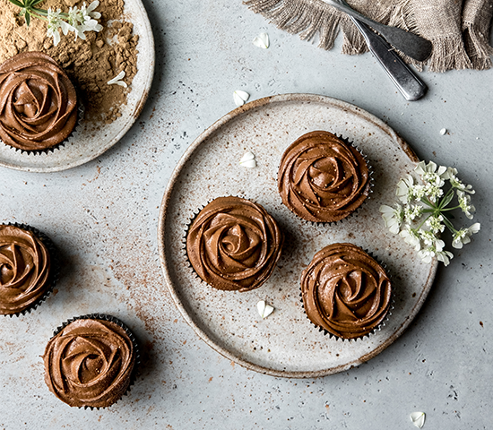 Zucchini Muffins with Avo-Cacao Frosting