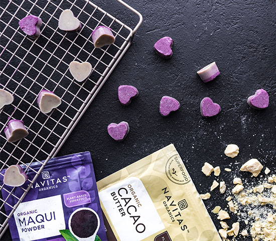White Chocolate Maqui Peanut Butter Hearts