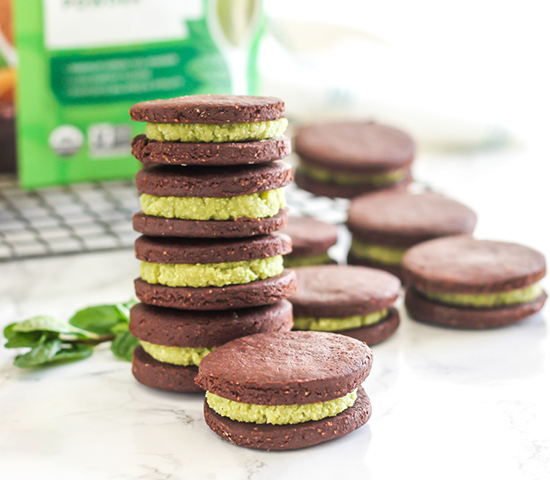 Matcha Mint Chocolate Cookie Sandwiches