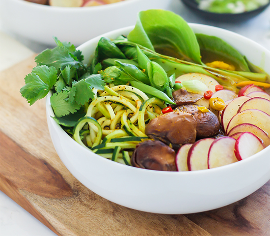 Spiralized Zucchini Pho in Lemongrass Turmeric Broth